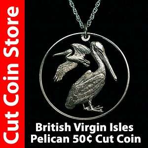 BVI British Virgin Islands Pelican Bird Cut Coins by Colin at the Cut