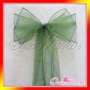 Deep Green Chair Organza Sash Bow Wedding Party Decoration Hot