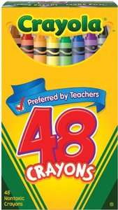 CRAYOLA CRAYONS ASSORTED COLORS BOX OF 48 COUNT