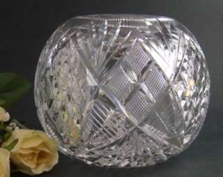 LARGE antique Cut Glass ROSE BOWL   Diamond & Fan American Brilliant