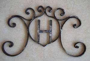 Rustic Hand Forged Wrought Iron Monogram Decor Art Door Wall House