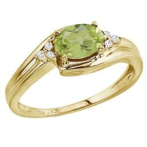 Gold August Birthstone Peridot and Diamond Side Set Ring Jewelry