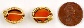 Pair of Pretty 14K Yellow Gold Cameo Screw Back Earrings