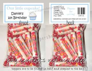 20 Personalized CUPCAKE Party Favor Loot Bags & Toppers