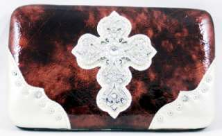 Western Rhinestones Checkbook Wallet Coin Purse Brown