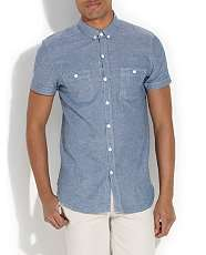Blue (Blue) Blue Chambray Short Sleeve Shirt  260409240  New Look