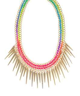 null (Multi Col) Neon Spike Necklace  252608899  New Look
