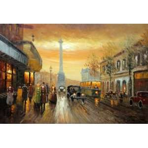 City Street Busy Scene Oil Painting 24 x 36 inches Bang