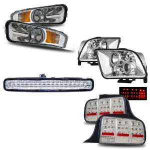 09 Ford Mustang Chrome CCFL Halo Projector Headlights + Parking Lights