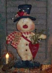Primitive Snowman Heart Valentine Door Doll Pattern 277