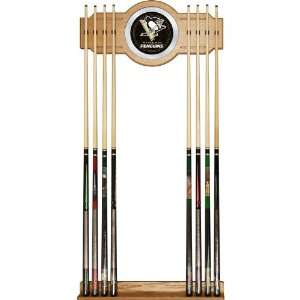 Quality NHL Pittsburgh Penguins 2 piece Wood and Mirror Wall Cue Rac