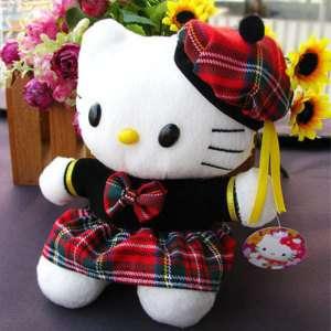 Hello kitty dress grid skirt soft fill doll toy KT D09R