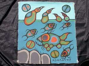 Renowned Artist Norval Morrisseau Loons with Fish