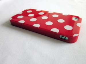 Red Bottom White Polka Dots TPU Soft Shell Case Cover for iPhone 4 4S