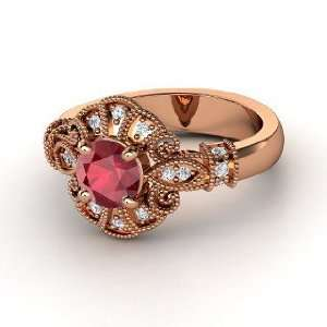 Chantilly Ring, Round Ruby 14K Rose Gold Ring with Diamond Jewelry