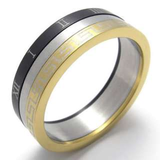 Mens Gold Black Silver Tone Stainless Steel Ring US Size 10