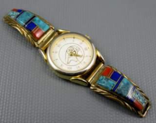Navajo Sterling Gold Filled Lapis Turquoise Spiny Watch Tips Alvin