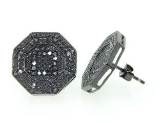 MENS LADIES BLACK GOLD FINISH 0.40 CT OCTAGON SHAPE BLACK DIAMOND