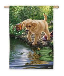 NIBBLES YELLOW LAB PUP GONE FISHING EXTRA LARGE FLAG