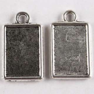 Tibetan Silver Oblong Gemstone Resin Photo Frame Charm Pendant Finding