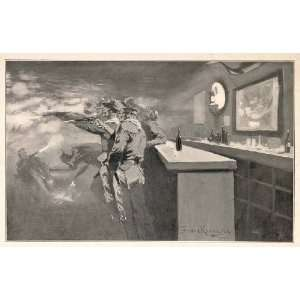 Western Saloon Bar Gunfight Cowboy   Original Print Home & Kitchen