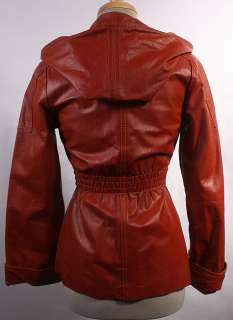 WOMENS VTG SOFT LEATHER FITTED SPY HOODED JACKET sz S