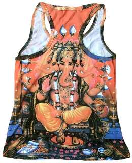 GANESHA GOTT Goa Tattoo Art Designer TANK TOP SHIRT S/M