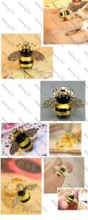 BEE RING rhinestone CRYSTAL wings QUIRKY INSECT gold plated