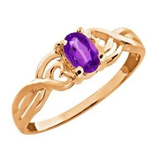 0.45 Ct Oval Purple Amethyst 14k Rose Gold Ring Jewelry