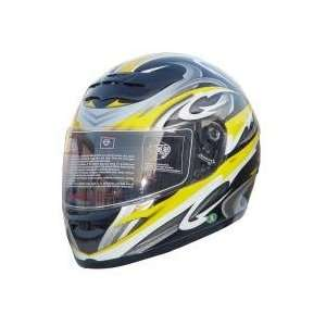 DOT Full Face Yellow Graphic Motorcycle Helmet Automotive