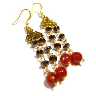 gemstone & tangerine Agate glass beads gold plated drop earrings