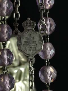 VERY LARGE AND HUGE ANTIQUE ROSARY STERLING SILVER AMETHYST CRYSTAL