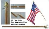 SPIN FREE FLAG POLE WOOD GRAIN EFFECT 6 FT