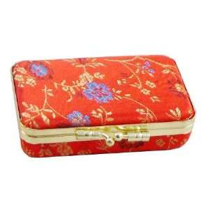 Red Flowered Chinese Satin Double Lipstick Purse Beauty