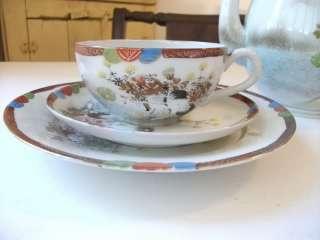 Japanese tea set vtg crane kutani imari porcelain art teapot mt fuji