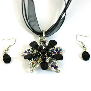 Black Fashion Cute Wedding Gemstone Women Necklace Earring Jewelry Set