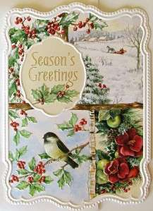 Carol Wilson Christmas Seasons Greetings Card Winter Scenes Holly