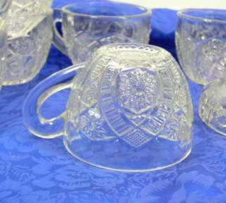 EAPG Indiana Glass Panelled Daisy Finecut Pattern Punch Bowl Set Cups