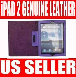 PURPLE GENUINE LEATHER SMART COVER CASE STAND iPAD 2