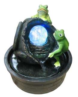 Frogs with Broken Jar Color LED Lights   Indoor Water Fountain