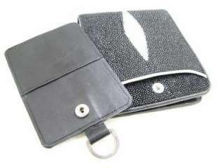 Genuine Black Stingray Leather Bifold Quick Card Wallet