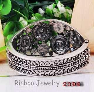 Red Full Ringed Flowers Rhinestone Crystal Tibet Silver Cuff Bracelet