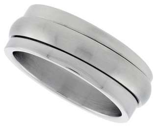 Spinner Ring Stainless Steel Satin Silver Finish Band