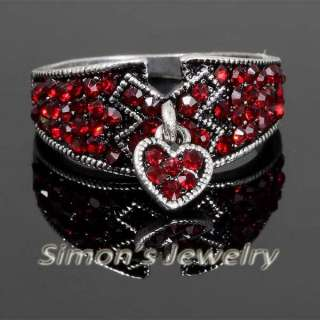 Cute Heart Shape Ring Red Crystal JV161 SIZE