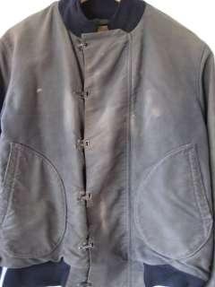 RARE Vintage WWII US Navy Deck Jacket w/ Hook Closures & Stencil 1st