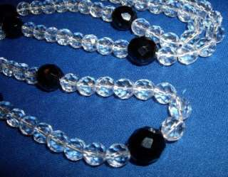 Vintage 40s Art Deco Jet Faceted Clear Crystal Necklace