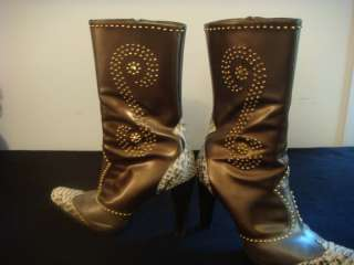 Womens Pollini Bronze Brown SNAKESKIN Boots 9 39 $899