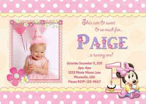 Minnie Mouse 1st First Birthday Invitation Personalized