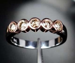 DIAMOND 14K Two Tone GOLD Bezel WEDDING BAND Engagement RING 6#
