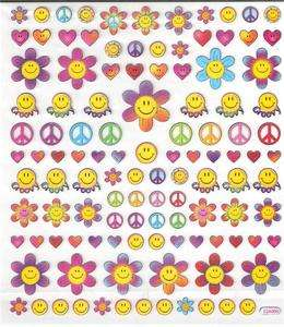 Yellow smiley Faces, Peace retro flower groovy stickers